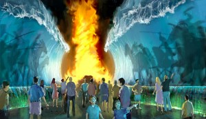 Walk through the parted waters while following a pillar of fire, just like it never happened in the Bible.